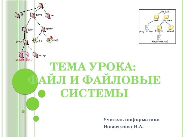 Тема урока:  Файл и файловые системы Учитель информатики Новоселова Н.А.