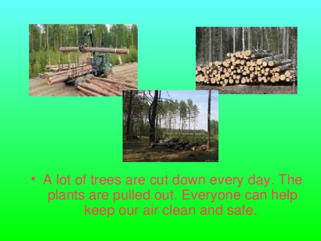 A lot of trees are cut down every day. The plants are pulled out. Everyone can help keep our air clean and safe.