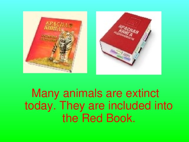 Many animals are extinct today. They are included into the Red Book.