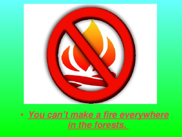 You can't make a fire everywhere in the forests.