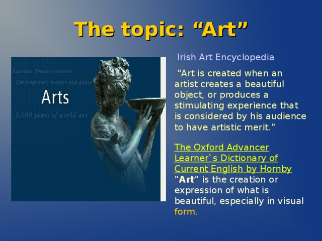 "The topic: ""Art""  Irish Art Encyclopedia"