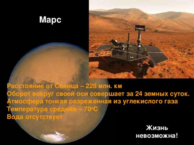 Марс Расстояние от Солнца – 228 млн. км Оборот вокруг своей оси совершает за 24 земных суток. Атмосфера тонкая разреженная из углекислого газа Температура средняя – 70 о С Вода отсутствует Жизнь невозможна!