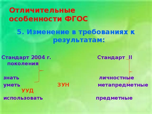 Отличительные  особенности ФГОС 5. Изменение в требованиях к результатам:  Стандарт 2004 г. Стандарт II поколения   знать личностные  уметь ЗУН метапредметные УУД  использовать предметные