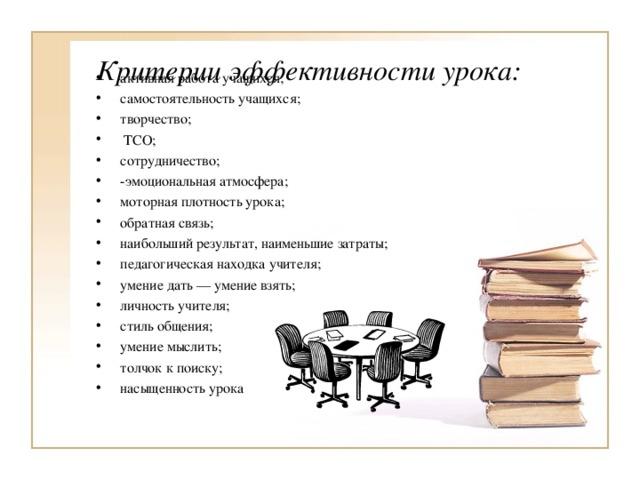 Критерии эффективности урока: