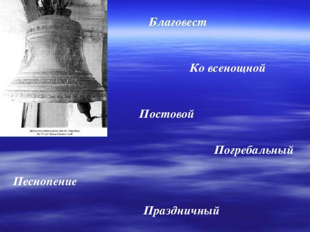 Благовест  Ко всенощной  Постовой Погребальный Песнопение Праздничный