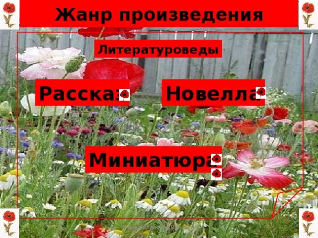 Жанр произведения Литературоведы Рассказ Новелла Миниатюра Мизёва Алевтина Власовна