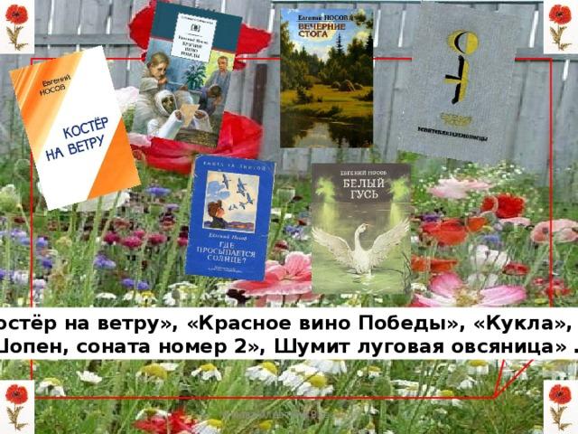 «Костёр на ветру», «Красное вино Победы», «Кукла»,  «Шопен, соната номер 2», Шумит луговая овсяница» … Мизёва Алевтина Власовна