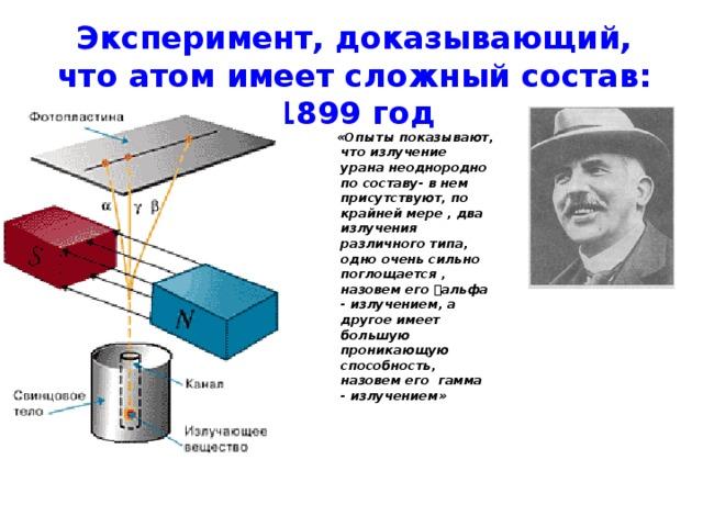 Эксперимент, доказывающий, что атом имеет сложный состав:  1899 год   «Опыты показывают, что излучение урана неоднородно по составу- в нем присутствуют, по крайней мере , два излучения различного типа, одно очень сильно поглощается , назовем его альфа - излучением, а другое имеет большую проникающую способность, назовем его гамма - излучением»