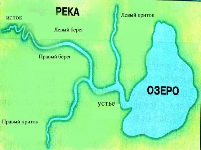 Левый приток исток Левый берег Правый берег устье Правый приток