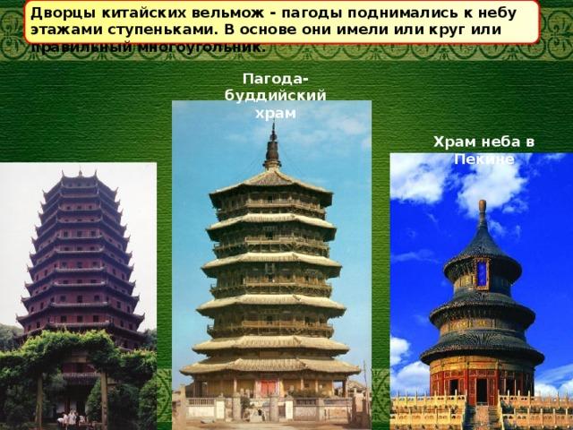 Дворцы китайских вельмож - пагоды поднимались к небу этажами ступеньками. В основе они имели или круг или правильный многоугольник. Пагода- буддийский храм Храм неба в Пекине