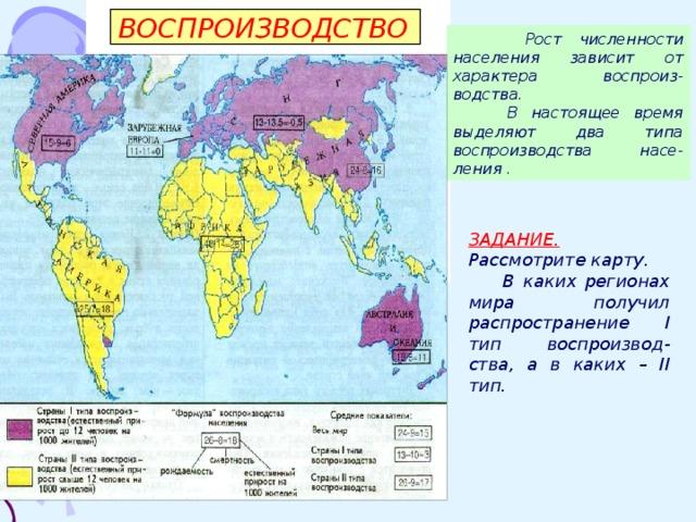ВОСПРОИЗВОДСТВО  Рост численности населения зависит от характера воспроиз-водства.  В настоящее время выделяют два типа воспроизводства насе-ления .          ЗАДАНИЕ. Рассмотрите карту.  В каких регионах мира получил распространение I тип воспроизвод-ства, а в каких – II тип. стр в 1. Откройте учебникна ира I типу, какие ко II относятся к