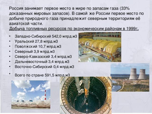 Россия занимает первое место в мире по запасам газа (33% доказанных мировых запасов). В самой же России первое место по добыче природного газа принадлежит северным территориям её азиатской части.  Добыча топливных ресурсов по экономическим районам в 1999г .