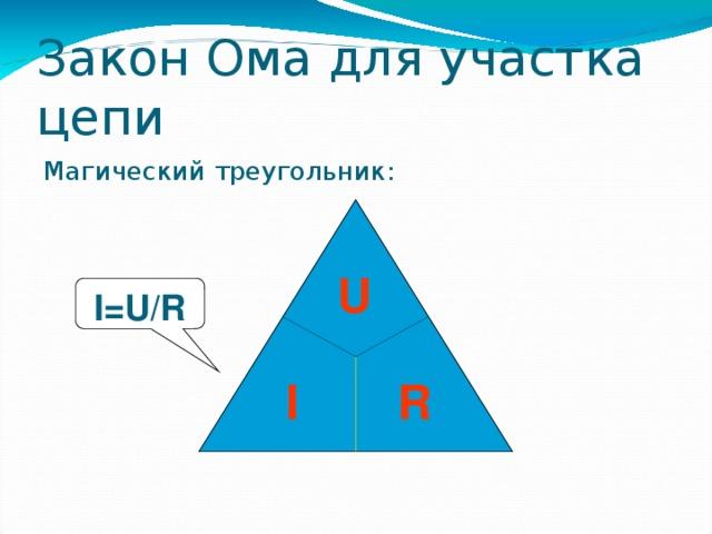 Закон Ома для участка цепи Магический треугольник: U I=U/R  I R 35 35