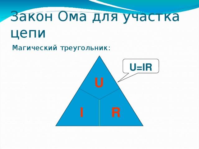 Закон Ома для участка цепи Магический треугольник: U=IR U  I R 36 36