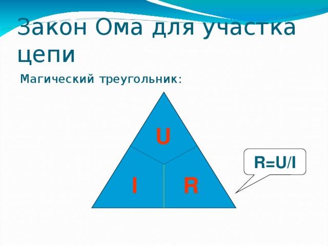 Закон Ома для участка цепи Магический треугольник: U R=U/I  I R 37 37