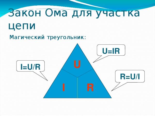 Закон Ома для участка цепи Магический треугольник: U=IR U I=U/R R=U/I R  I 38 38