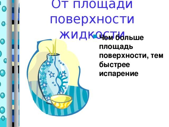 От площади поверхности жидкости