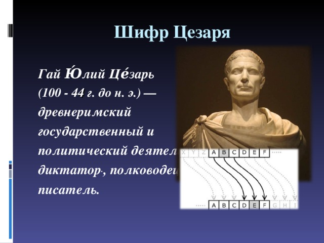 Шифр Цезаря Гай Ю́лий Це́зарь (100- 4 4 г. дон.э.)— древнеримский государственный и политический деятель, диктатор . ,полководец, писатель.
