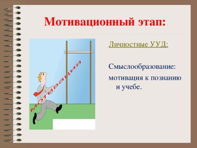 Мотивационный этап: Личностные УУД: Смыслообразование: мотивация к познанию и учебе.
