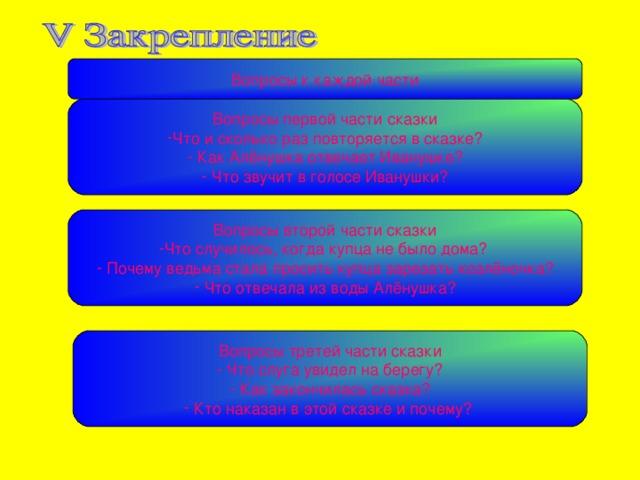 Вопросы к каждой части Вопросы первой части сказки Что и сколько раз повторяется в сказке ?  Как Ал ёнушка отвечает Иванушке?  Что звучит в голосе Иванушки? Вопросы второй части сказки Что случилось, когда купца не было дома ?   Почему ведьма стала просить купца зарезать козлёночка?  Что отвечала из воды Алёнушка? Вопросы третей части сказки