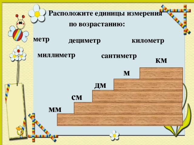 Расположите единицы измерения  по возрастанию: метр километр дециметр сантиметр миллиметр миллиметр км м дм см мм