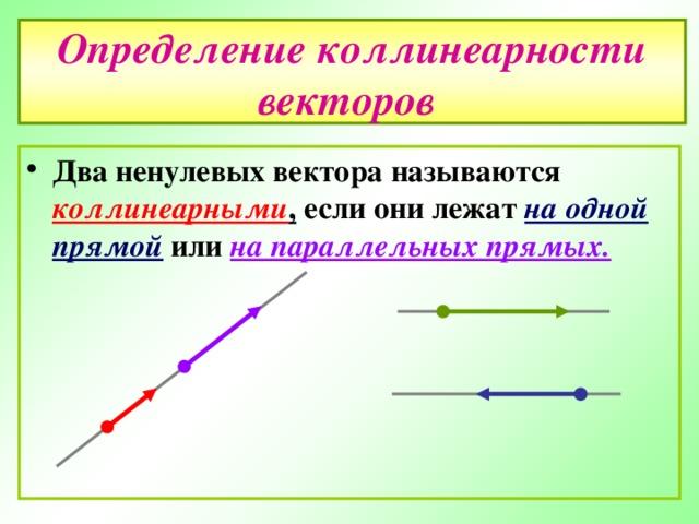 Определение коллинеарности векторов
