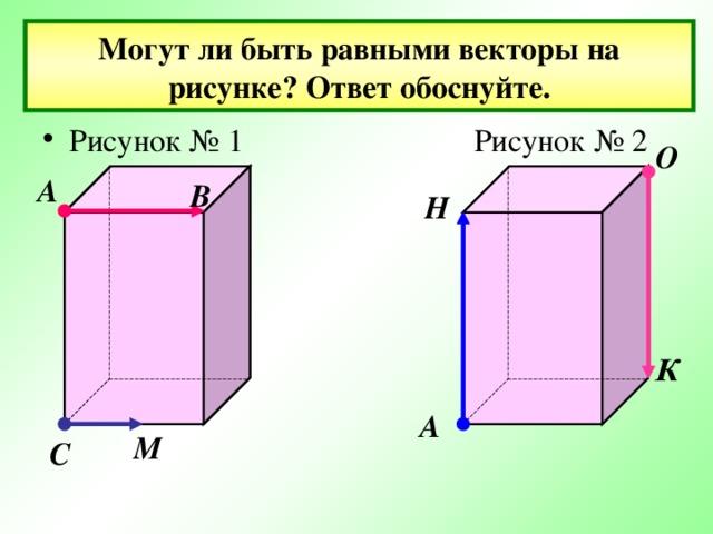 Могут ли быть равными векторы на рисунке? Ответ обоснуйте. Рисунок № 1 Рисунок № 2 О А В Н К А М С
