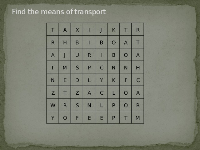 Find the means of transport