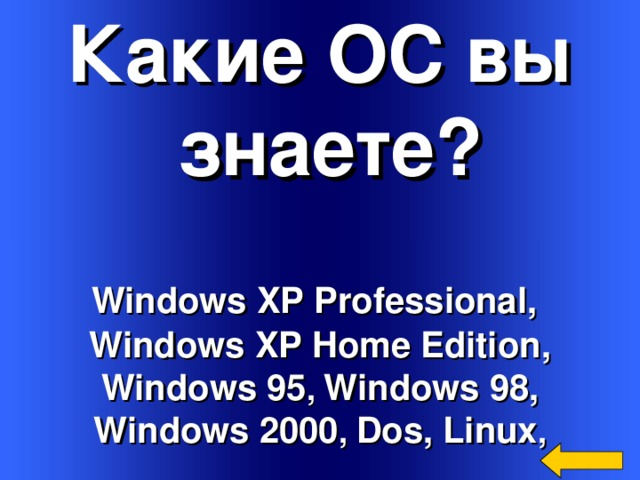Какие ОС вы  знаете? Windows XP Professional ,  Windows XP  Home Edition , Windows 95 , Windows 98, Windows 2000 , Dos , Linux , Welcome to Power Jeopardy   © Don Link, Indian Creek School, 2004 You can easily customize this template to create your own Jeopardy game. Simply follow the step-by-step instructions that appear on Slides 1-3.