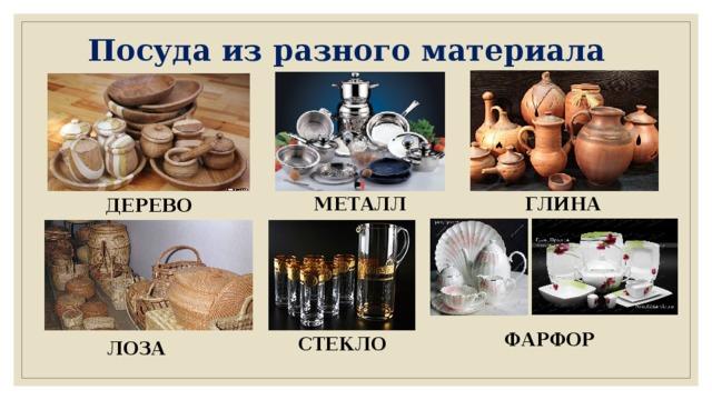 Посуда из разного материала МЕТАЛЛ ГЛИНА ДЕРЕВО ФАРФОР СТЕКЛО ЛОЗА