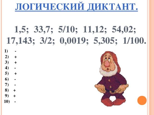 ЛОГИЧЕСКИЙ ДИКТАНТ.    1,5;  33,7; 5/10; 11,12; 54,02;  17,143; 3/2; 0,0019; 5,305; 1/100.      1)  -   2) +   3) +   4) -   5) +   6) -   7) -   8) +   9) +   10) -