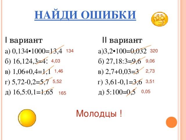 НАЙДИ ОШИБКИ Ι вариант ΙΙ вариант а) 0,134•1000=13,4 а)3,2•100=0,032 б) 16,12 ׃ 4 = 4,3 б) 27,18:3=9,6 в) 1,06+0,4=1,1 в) 2,7+0,03=3 г) 5,72-0,2=5,7 г) 3,61-0,1=3,6 д) 16,5:0,1=1,65 д) 5:100=0,5  320 134 9,06 4,03 1,46 2,73 3,51 5,52 0,05 165 Молодцы !