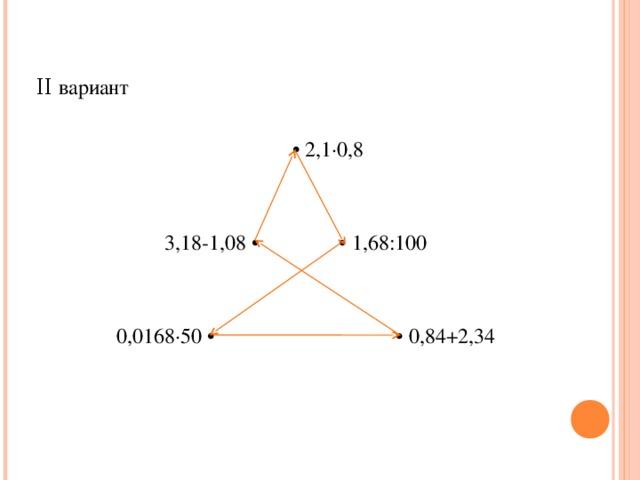 ΙΙ вариант • 2,1∙0,8  3,18-1,08 • • 1,68:100  0,0168∙50 • • 0,84+2,34