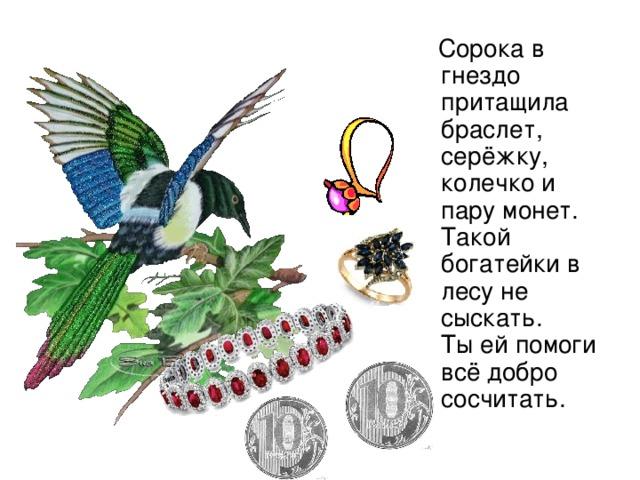 Сорока в гнездо притащила браслет,  c ерёжку, колечко и пару монет.  Такой богатейки в лесу не сыскать.  Ты ей помоги всё добро сосчитать.