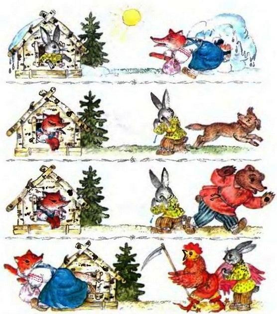 заюшкина избушка в картинках для пересказа кролики