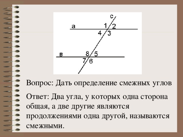 Вопрос: Дать определение смежных углов Ответ: Два угла, у которых одна сторона общая, а две другие являются продолжениями одна другой, называются смежными.