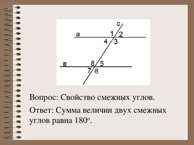 Вопрос: Свойство смежных углов. Ответ: Сумма величин двух смежных углов равна 180 о .