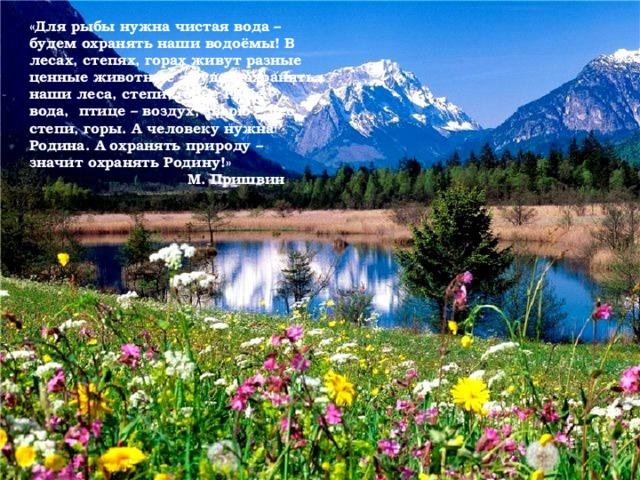 «Для рыбы нужна чистая вода – будем охранять наши водоёмы! В лесах, степях, горах живут разные ценные животные – будем охранять наши леса, степи, горы. Рыбе – вода, птице – воздух, зверю – лес, степи, горы. А человеку нужна Родина. А охранять природу – значит охранять Родину!»  М. Пришвин