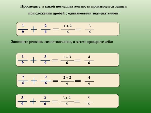 Проследите, в какой последовательности производятся записи при сложении дробей с одинаковыми знаменателями: 1 2 3 1 + 2 6 6 6 6 Запишите решение самостоятельно, а затем проверьте себя: 1 3 4 1 + 3 6 6 6 6 2 2 4 2 + 2 6 6 6 6 3 2 5 3 + 2 6 6 6 6