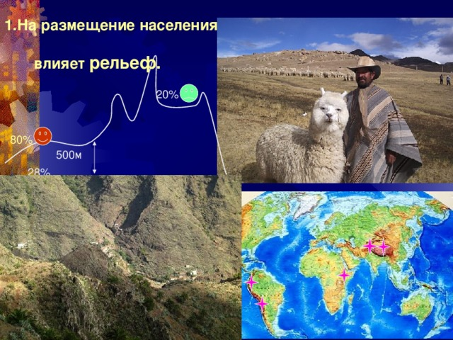1.На размещение населения  влияет рельеф. 20% 80% 500м 28% Эфиопия, Афганистан, Тибет, Мексика, Перу, Боливия – большинство на высоте до 5 км 24
