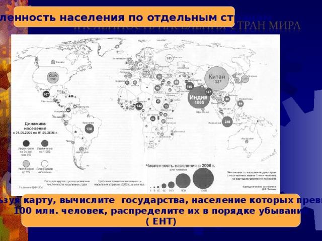Численность населения по отдельным странам Используя карту, вычислите государства, население которых превышает 100 млн. человек, распределите их в порядке убывания ( ЕНТ)