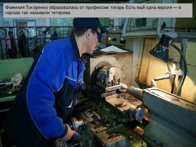 Фамилия Токоренко образовалась от профессии токарь Есть ещё одна версия — в народе так называли тетерева.