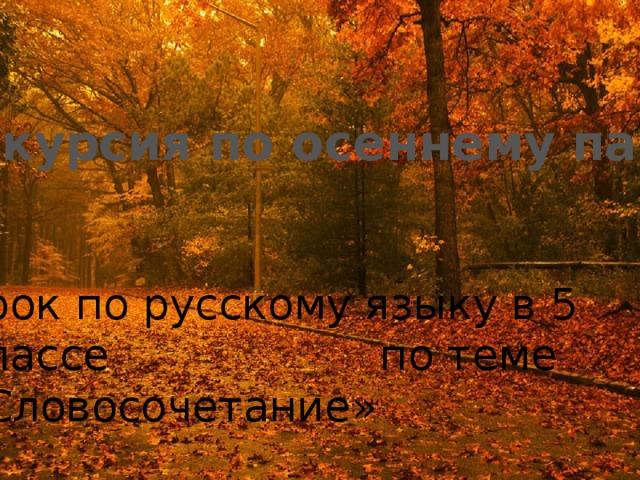 Экскурсия по осеннему парку Урок по русскому языку в 5 классе по теме «Словосочетание»