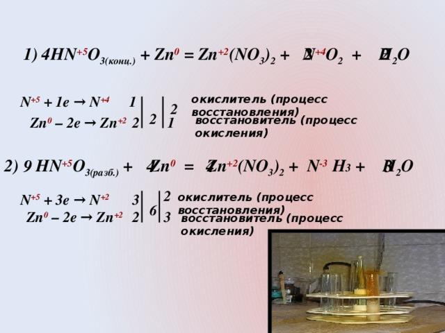 1) HN +5 O 3(конц.) + Zn 0 = Zn +2 (NO 3 ) 2 + N +4 O 2 + H 2 O 2 4 2   2 1 окислитель (процесс восстановления) N +5  + 1e → N +4  2  Zn 0 – 2e → Zn +2  1 2 восстановитель (процесс окисления)  2) HN +5 O 3(разб.) + Zn 0 = Zn +2 (NO 3 ) 2 + N -3 H 3 + H 2 O 9 3 4 4 2 окислитель (процесс восстановления) N +5  + 3e → N +2 3  6 Zn 0 – 2e → Zn +2  2 3 восстановитель (процесс окисления)