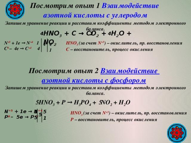 Посмотрим опыт 1 Взаимодействие азотной кислоты с углеродом  Запишем уравнение реакции и расставим коэффициенты методом электронного баланса. HNO 3 + С → СO 2 + H 2 O +  NO 2 2 4 4 HNO 3 (за счет N +5 ) – окислитель, пр. восстановления N +5  + 1e → N +4 1 C – восстановитель, процесс окисления С 0 – 4e → С +4 4 4 4 1 Посмотрим опыт 2 Взаимодействие азотной кислоты с фосфором Запишем уравнение реакции и расставим коэффициенты методом электронного баланса. 5 5  HNO 3 + P → H 3 PO 4 + NO 2 + H 2 O N +5  + 1e → N +4 P 0 – 5e → P +5 1 5 HNO 3 (за счет N +5 ) – окислитель, пр. восстановления P – восстановитель, процесс окисления 5 5 1