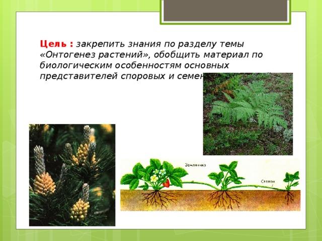Цель :  закрепить знания по разделу темы «Онтогенез растений», обобщить материал по биологическим особенностям основных представителей споровых и семенных растений .