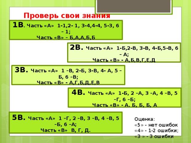 Проверь свои знания 1В . Часть «А» 1-1,2- 1, 3-4,4-4, 5-3, 6 – 1; Часть «В» – Б,А,А,Б,Б 2В. Часть «А» 1-Б,2-В, 3-В, 4-Б,5-В, 6 – А; Часть «В» - А,Б,В,Г,Е,Д 3В. Часть «А» 1 –В, 2-Б, 3-В, 4- А, 5 –Б, 6 –В; Часть «В» - А,Г,Б,Д,Е,В 4В. Часть «А» 1-Б, 2 –А, 3 –А, 4 –В, 5 –Г, 6 –Б; Часть «В» - А. Б, Б, Б, А 5В. Часть «А» 1 –Г, 2 –В, 3 –В, 4 –В, 5 –Б, 6 –А; Часть «В» В, Г, Д. Оценка: «5» - нет ошибок  «4» - 1-2 ошибки; «3 » - 3 ошибки