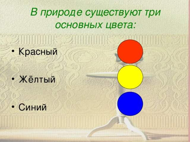 В природе существуют три основных цвета: