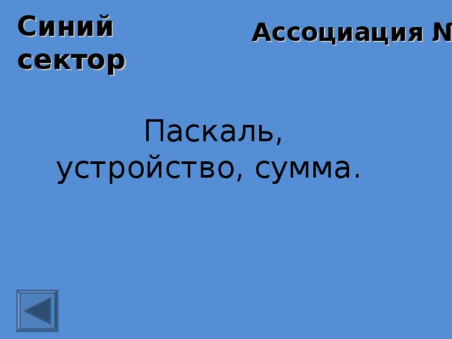 Синий сектор Ассоциация № 2 Паскаль, устройство, сумма.
