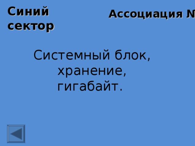 Синий сектор Ассоциация № 4 Системный блок, хранение, гигабайт.
